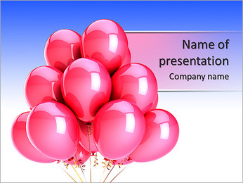 Pink balloons romantic Love party decoration. Happy Birthday celebration honeymoon greeting card rom PowerPoint Template