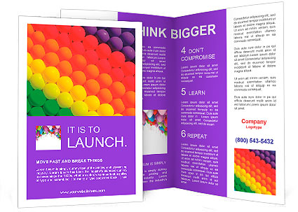 graduation brochure templates - colorful balloons graduation rainbow theme brochure