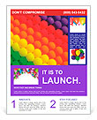 Colorful balloons. Graduation Rainbow theme Flyer Template
