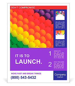 colorful balloons graduation rainbow theme poster template design