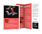 Beautiful dancer jumping on dark background Brochure Templates