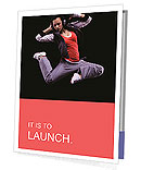 Beautiful dancer jumping on dark background Presentation Folder
