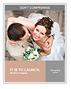 Happy bride and groom at the wedding walk Word Templates