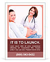 Doctor touches the belly of a pregnant woman Ad Template