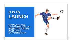 A soccer player shooting a ball isolated on white background Business Card Template
