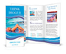 Beautiful young woman tanning in solarium Brochure Templates