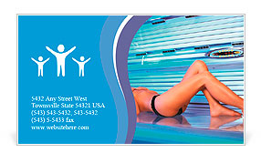 Beautiful young woman tanning in solarium Business Card Template