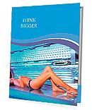 Beautiful young woman tanning in solarium Presentation Folder