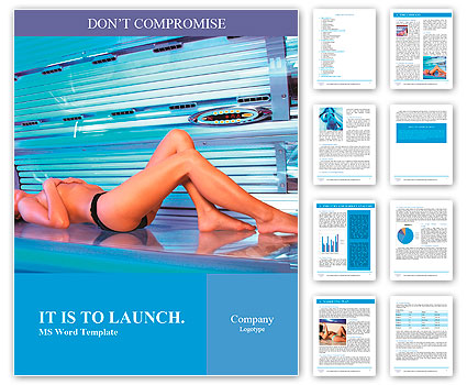 Beautiful young woman tanning in solarium Word Template & Design ID ...