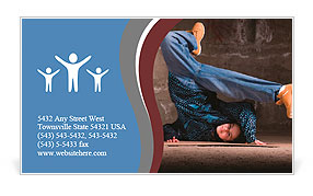 Hip hop girl dancing in modern style over urban grey brick wall Business Card Template