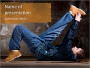 Hip hop girl dancing in modern style over urban grey brick wall PowerPoint Templates