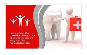 Men with medical case and tooth. Dentist. 3d Business Card Template