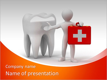 Men with medical case and tooth. Dentist. 3d PowerPoint Template