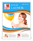 Happy teenage girl with balloons over white Flyer Template