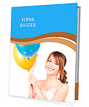 Happy teenage girl with balloons over white Presentation Folder