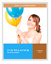 Happy teenage girl with balloons over white Word Templates