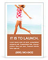Young female running on the beach Ad Template