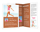 Young female running on the beach Brochure Templates