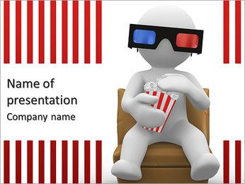 Ser humano 3d com óculos 3d e comendo pipoca Modelos de apresentações PowerPoint
