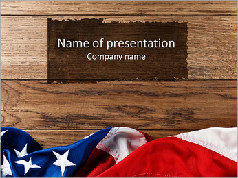 Flapping flag USA with wave PowerPoint Template
