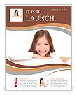 Woman billboard sign. Young beautiful woman smiling showing blank white placard. Casual and relaxed Flyer Template