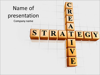 3d golden cubes with black letters like crossword with text - creative strategy PowerPoint Template