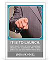 Businessman in suit and tie pointing the finger in front of himself Ad Template