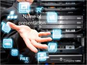 Programmer and icon control the system in data center room PowerPoint Templates