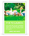 Family playing on green grass Ad Template