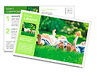 Family playing on green grass Postcard Template