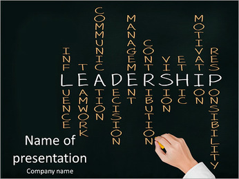 Business hand writing leadership skill PowerPoint Template