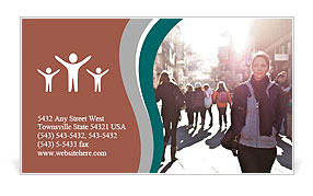 City girl stand out from the crowd of the city Business Card Template