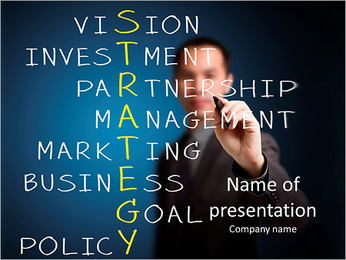 Business man writing business strategy PowerPoint Template