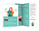 Red-haired girl facing a choice isolated on a white, holding a questions marks on her hands. posing Brochure Template