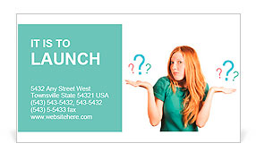 Red-haired girl facing a choice isolated on a white, holding a questions marks on her hands. posing Business Card Template