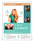Red-haired girl facing a choice isolated on a white, holding a questions marks on her hands. posing Flyer Templates