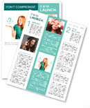 Red-haired girl facing a choice isolated on a white, holding a questions marks on her hands. posing Newsletter Template