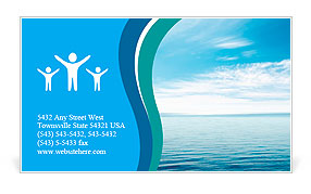 Calm sea and blue clouds Business Card Template