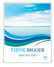 Calm sea and blue clouds Poster Template