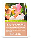 Father playing with his daughter in the park Ad Template