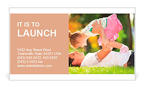 Father playing with his daughter in the park Business Card Template