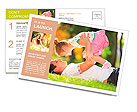 Father playing with his daughter in the park Postcard Template