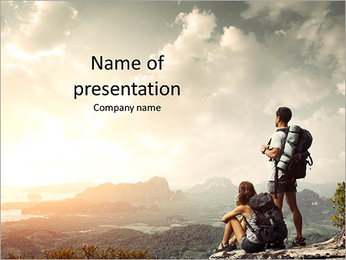 Tourists enjoying the beautiful view PowerPoint Template