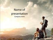 Tourists enjoying the beautiful view PowerPoint Templates