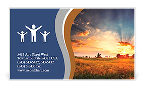 Dawn of the sun in field cropping Business Card Template