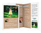 Girl enjoys soap bubbles Brochure Template