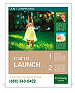Girl enjoys soap bubbles Poster Template