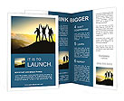 Silhouette of a team of people climbing to the top of the mountain Brochure Templates