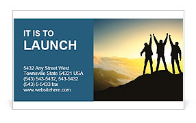 Silhouette of a team of people climbing to the top of the mountain Business Card Template