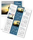 Silhouette of a team of people climbing to the top of the mountain Newsletter Template